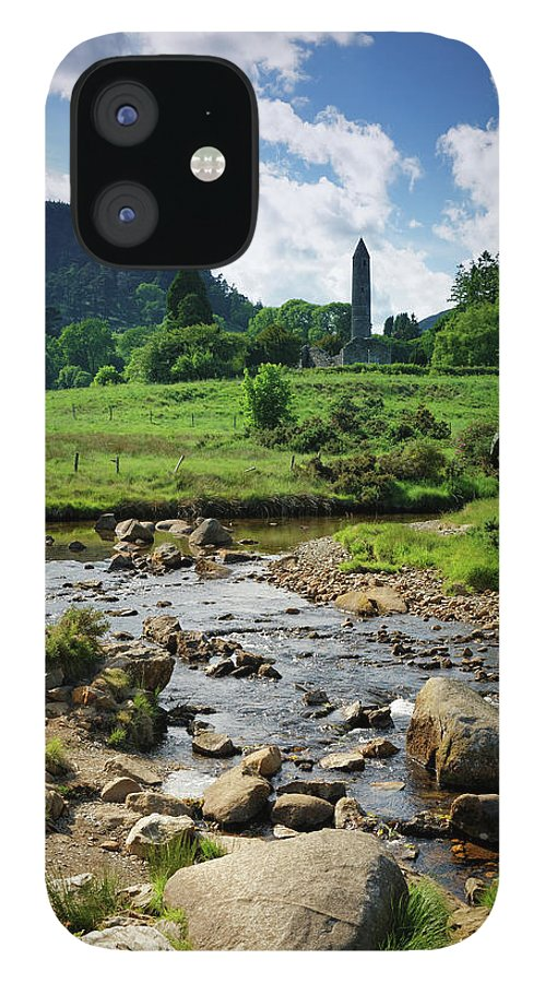 Scenics IPhone 12 Case featuring the photograph Glendalough Creek With The Old Monastic by Mammuth