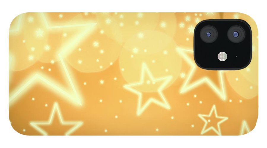 Christmas Lights IPhone 12 Case featuring the photograph Glowing Background With Stars, Studio by Tetra Images