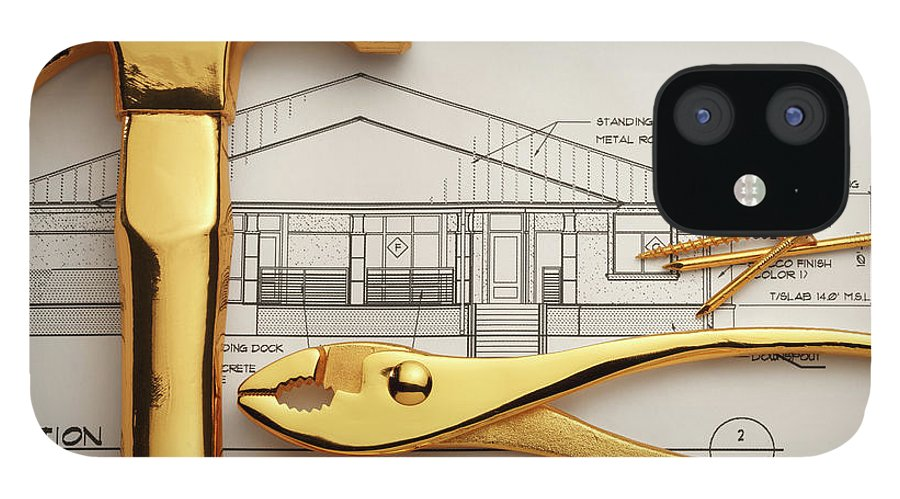 Plan IPhone 12 Case featuring the photograph Gold Plated Tools And Blueprints by Dny59
