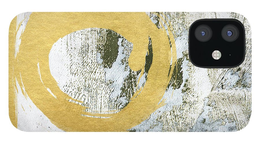 Gold IPhone 12 Case featuring the painting Gold Rush - Abstract Art by Linda Woods