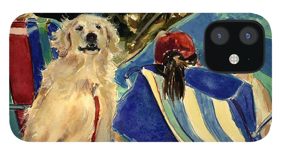 Golden Retriever iPhone 12 Case featuring the painting Golden Beach by Molly Poole