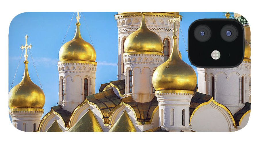 Annunciation IPhone 12 Case featuring the photograph Golden Domes Of The Russian Church by Mordolff
