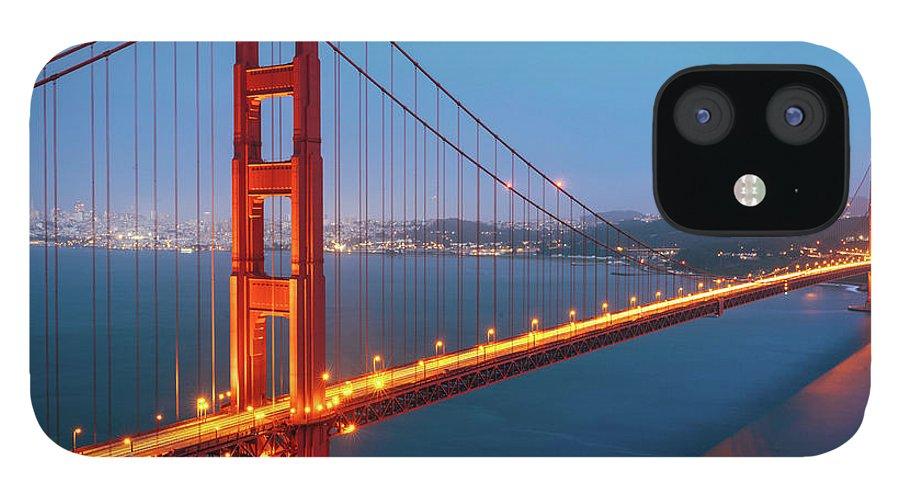 Dawn IPhone 12 Case featuring the photograph Golden Gate Bridge, San Francisco by Deimagine