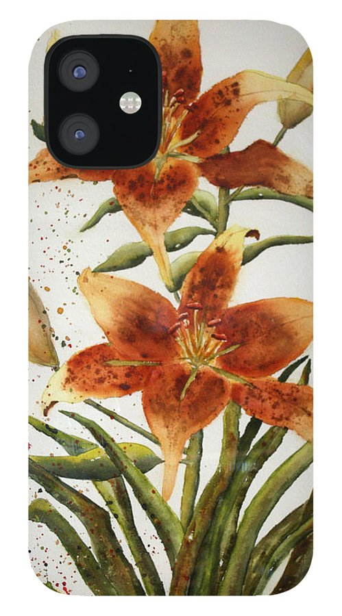 Lilies iPhone 12 Case featuring the painting Golden Lilies by Patricia Novack