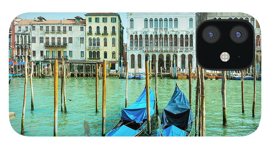 Built Structure IPhone 12 Case featuring the photograph Gondolas In Venice by Caracterdesign