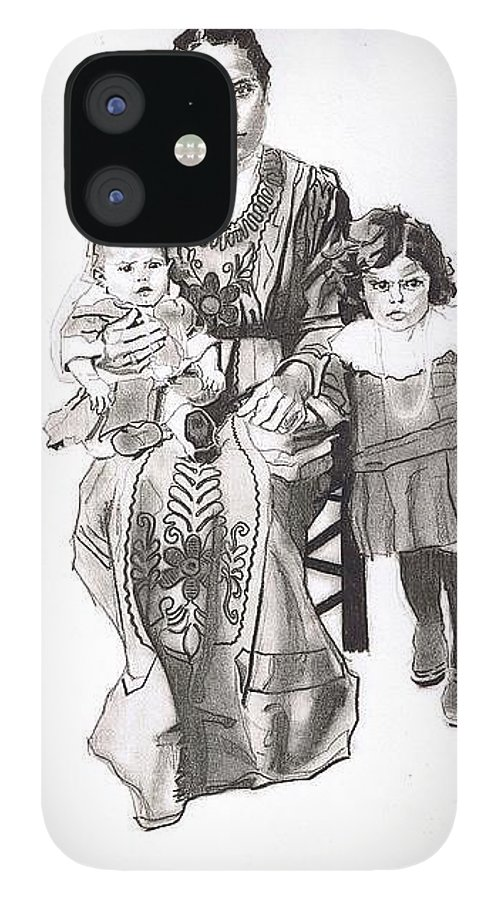 Charcoal On Paper IPhone 12 Case featuring the drawing Grandma's Family by Sean Connolly
