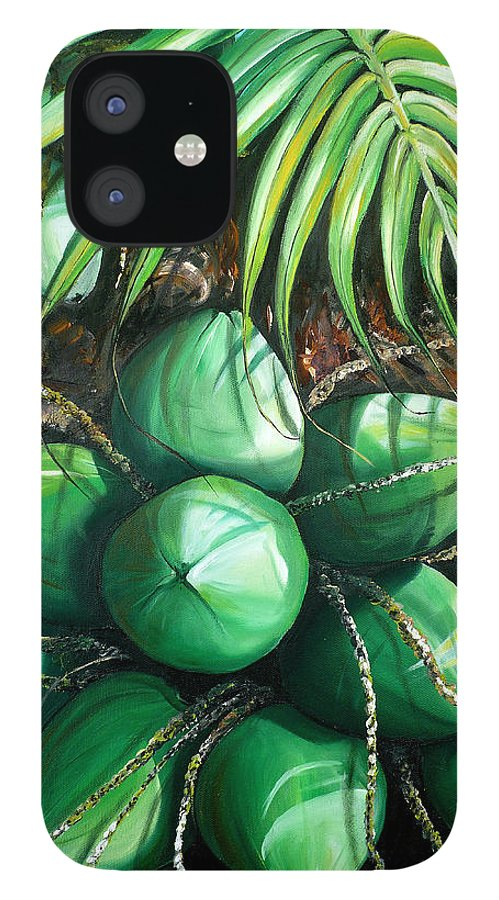 Tropical Painting Caribbean Painting Green Painting Palm Tree Painting Greeting Card Painting Botanical Painting Tree Painting IPhone 12 Case featuring the painting Green Coconuts 3 Sold by Karin Dawn Kelshall- Best
