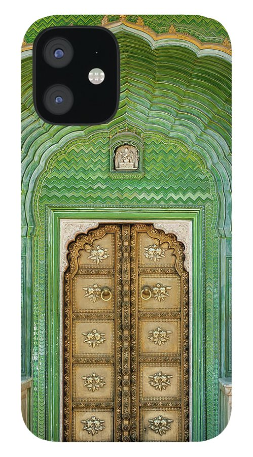 Arch IPhone 12 Case featuring the photograph Green Gate In Pitam Niwas Chowk by Hakat