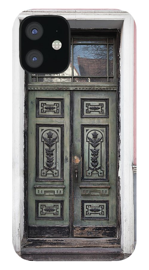 Rectangle IPhone 12 Case featuring the photograph Green Wooden Door In Old Building by Eugenesergeev
