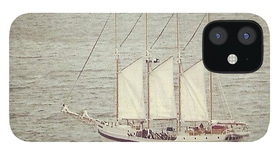 Ship IPhone 12 Case featuring the photograph Gray Day And A Tall Ship by Jill Tuinier