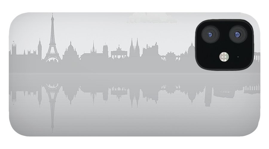 Clock Tower IPhone 12 Case featuring the digital art Grey Europe by Leontura