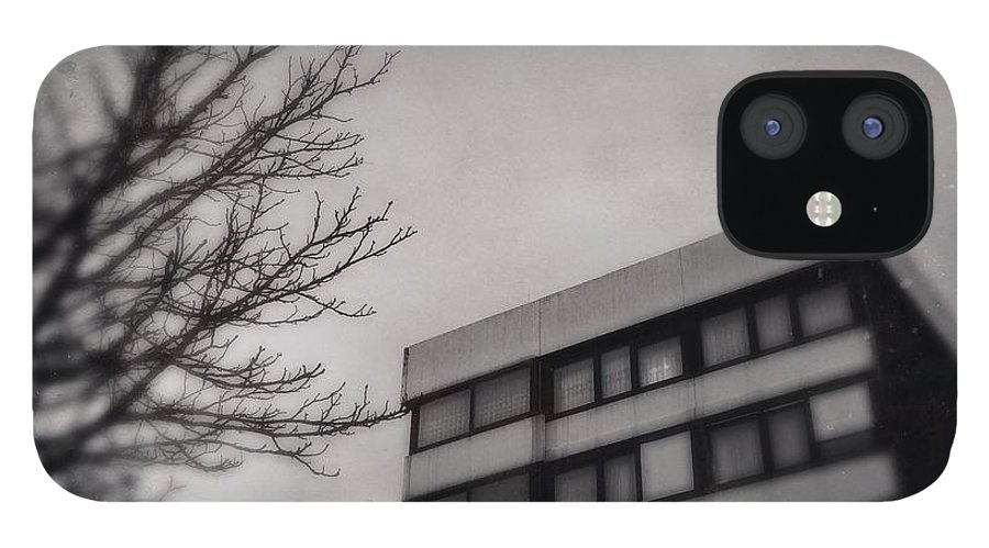 Grey IPhone 12 Case featuring the photograph Grey urban architecture by Matthias Hauser