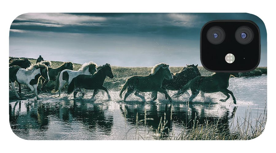 Horse IPhone 12 Case featuring the photograph Group Of Horses Crossing A River by Arctic-images