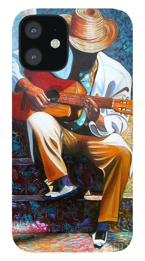 Cuban Art IPhone 12 Case featuring the painting Guitar by Jose Manuel Abraham
