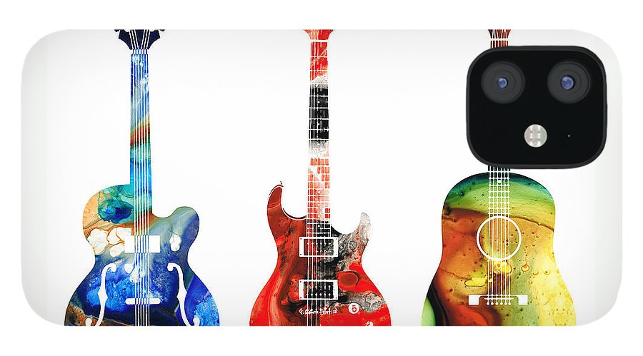Guitar IPhone 12 Case featuring the painting Guitar Threesome - Colorful Guitars By Sharon Cummings by Sharon Cummings