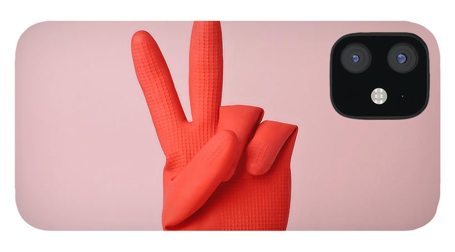 Washing Up Glove IPhone 12 Case featuring the photograph Hand In Red Rubber Glove Making Peace by Juj Winn