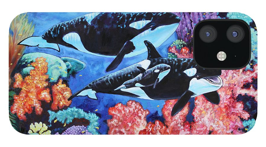 Whales IPhone 12 Case featuring the painting Happy Life of a Killer Whale by John Lautermilch