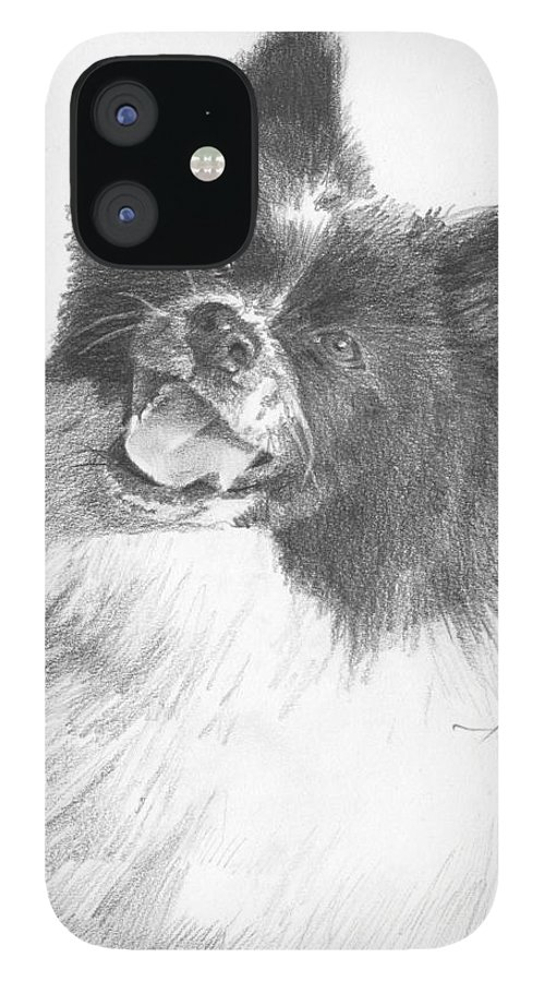 <a Href=http://miketheuer.com Target =_blank>www.miketheuer.com</a> Happy Sled Dog Pencil Portrait IPhone 12 Case featuring the painting Happy Sled Dog Pencil Portrait by Mike Theuer