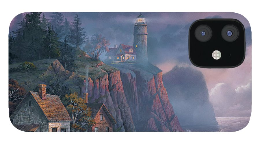 Michael Humphries IPhone 12 Case featuring the painting Harbor Light Hideaway by Michael Humphries