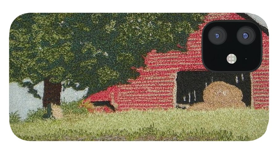 Fiber IPhone 12 Case featuring the mixed media Hay Barn by Jenny Williams