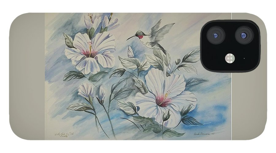 White Hibiscus iPhone 12 Case featuring the painting Hibiscus in Spring by Wanda Dansereau