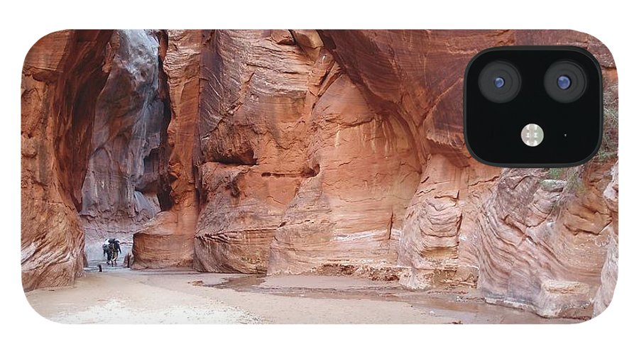 Tranquility IPhone 12 Case featuring the photograph Hikers Entering Buckskin Gulch From by Photograph By Michael Schwab