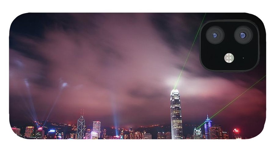 Tranquility IPhone 12 Case featuring the photograph Hong Kong Laser Lights by Photo By Dan Goldberger