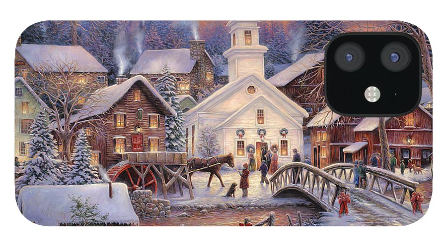Snow Village iPhone 12 Case featuring the painting Hope Runs Deep by Chuck Pinson