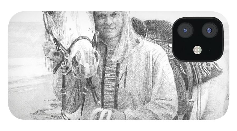 <a Href=http://miketheuer.com Target =_blank>www.miketheuer.com</a> Horse And Rider Beach Pencil Portrait IPhone 12 Case featuring the drawing Horse And Rider Beach Pencil Portrait by Mike Theuer
