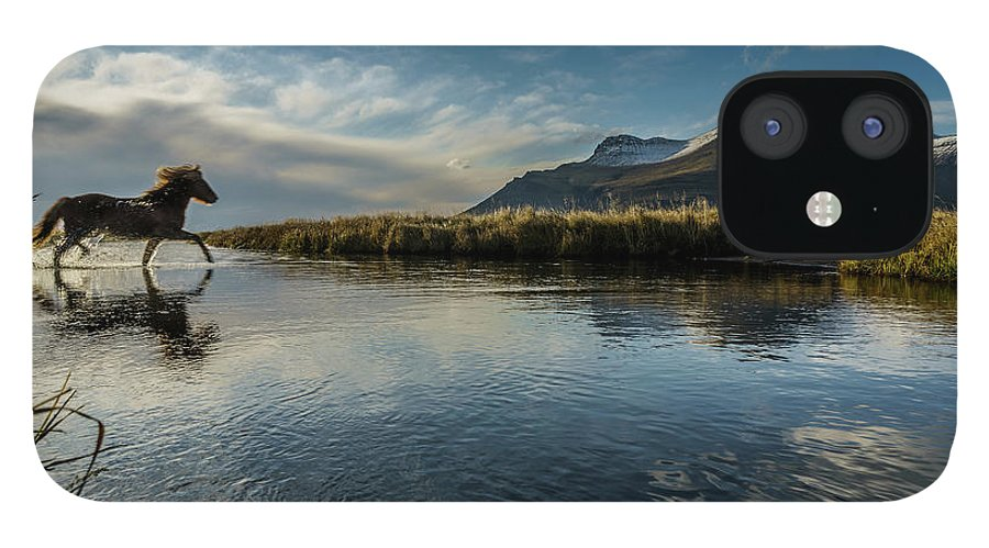 Majestic IPhone 12 Case featuring the photograph Horse Crossing A River, Iceland by Arctic-images