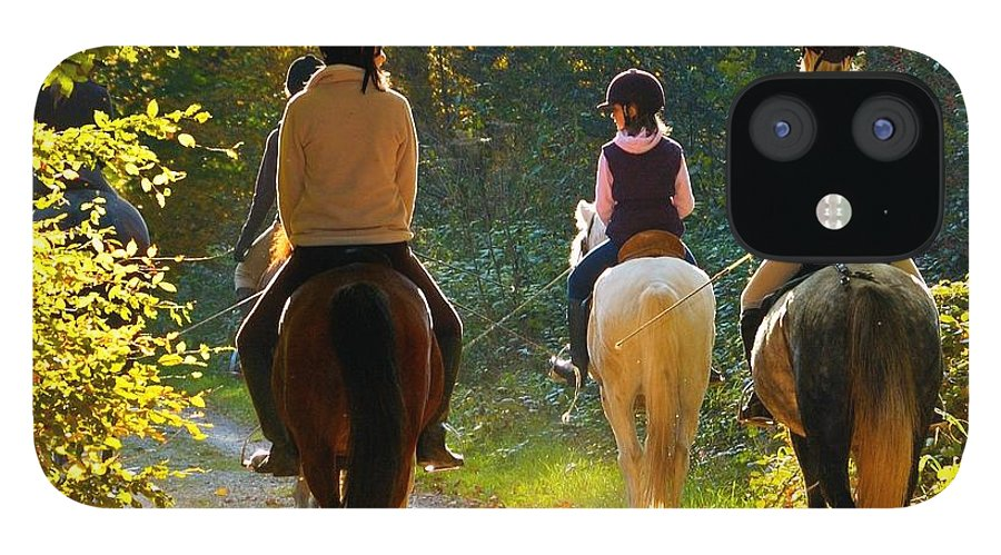 Horses IPhone 12 Case featuring the photograph Horseback riding in the autumnal forest by Matthias Hauser