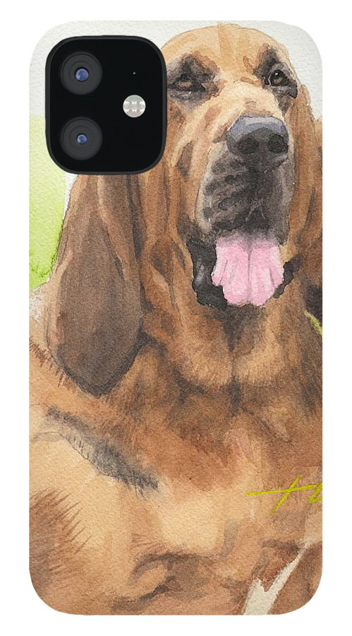 <a Href=http://miketheuer.com Target =_blank>www.miketheuer.com</a> Hound Dog Watercolor Portrait IPhone 12 Case featuring the drawing Hound Dog Watercolor Portrait by Mike Theuer