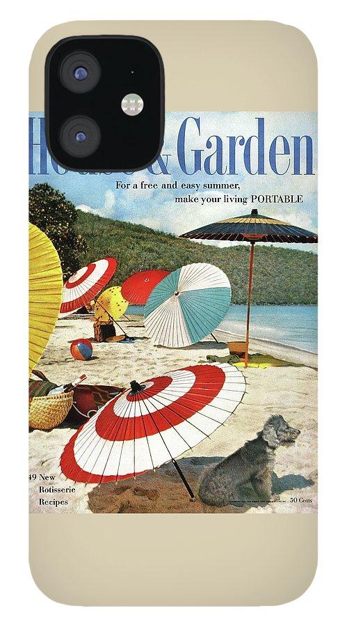 House And Garden Featuring Umbrellas On A Beach IPhone 12 Case