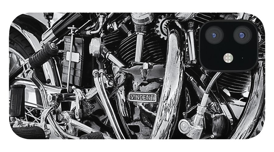 Hrd Vincent iPhone 12 Case featuring the photograph HRD Vincent Motorcycle Engine by Tim Gainey