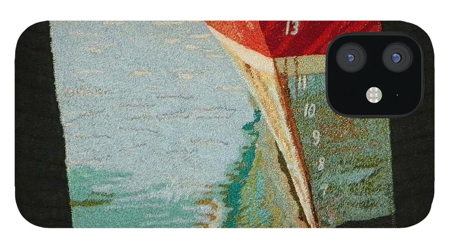 Art Quilt IPhone 12 Case featuring the tapestry - textile Waterline by Jenny Williams