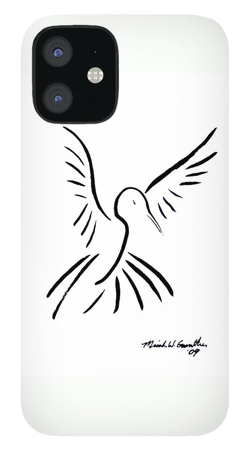 Bird IPhone 12 Case featuring the drawing Hummingbird by Micah Guenther