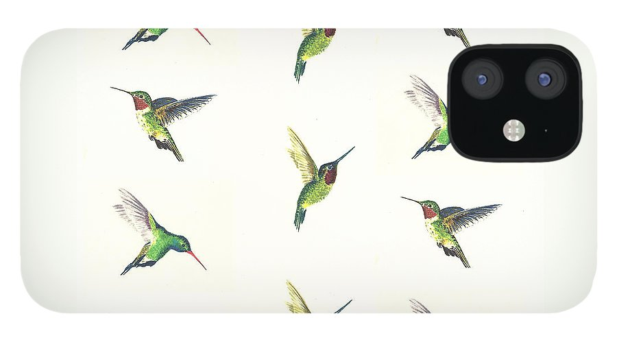 Animals IPhone 12 Case featuring the painting Hummingbirds Number 2 by Michael Vigliotti