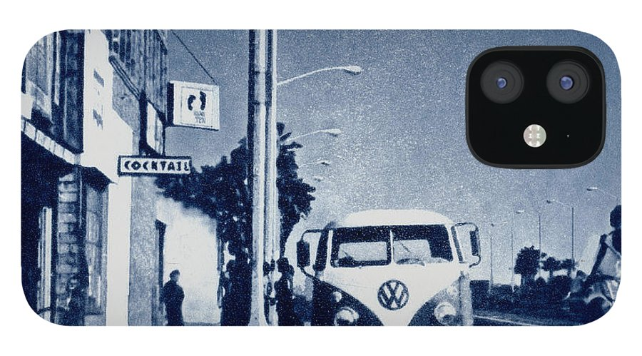 Beach IPhone 12 Case featuring the mixed media Huntington Beach 1976 by Philip Fleischer
