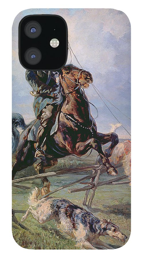 Borzoi IPhone 12 Case featuring the painting Huntsman with the Borzois by Rudolph Frenz