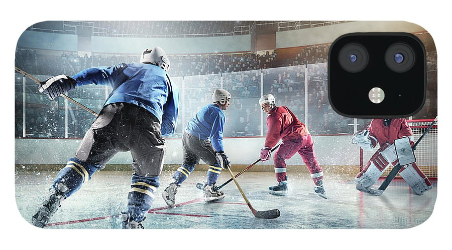 Sports Helmet IPhone 12 Case featuring the photograph Ice Hockey Players In Action by Dmytro Aksonov