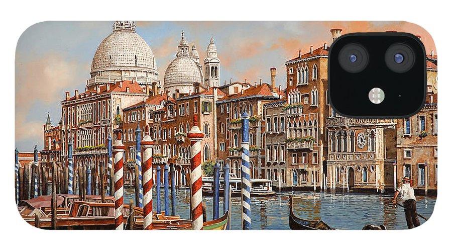 Venice IPhone 12 Case featuring the painting il Canal Grande e il gondoliere by Guido Borelli