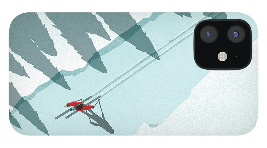 Ski Pole IPhone 12 Case featuring the digital art Illustration Of Man Skiing During by Malte Mueller