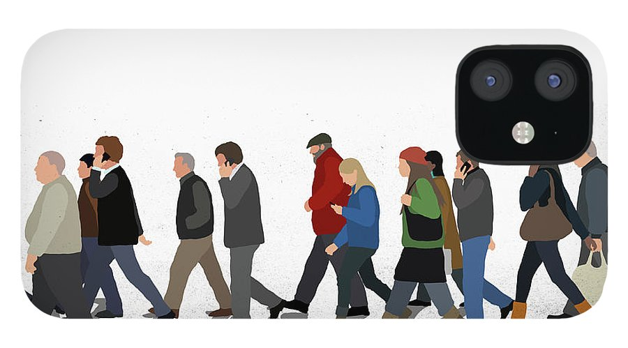 Shadow IPhone 12 Case featuring the digital art Illustration Of People Walking On by Malte Mueller