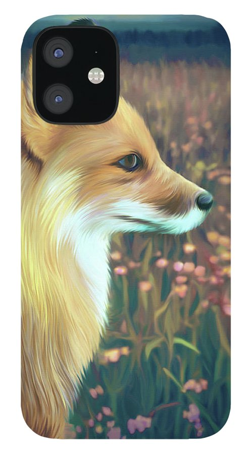 Grass IPhone 12 Case featuring the digital art Illustration Of Red Fox by Illustration By Shannon Posedenti