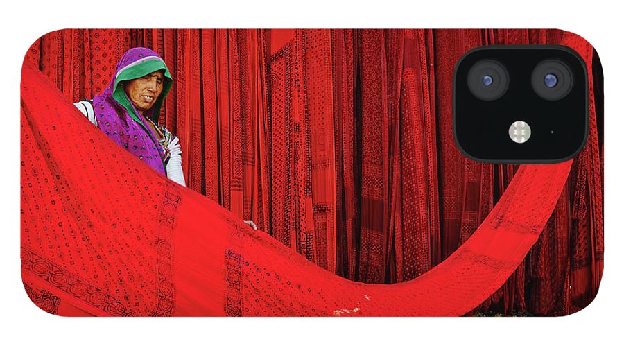 Expertise IPhone 12 Case featuring the photograph India, Rajasthan, Sari Factory by Tuul & Bruno Morandi