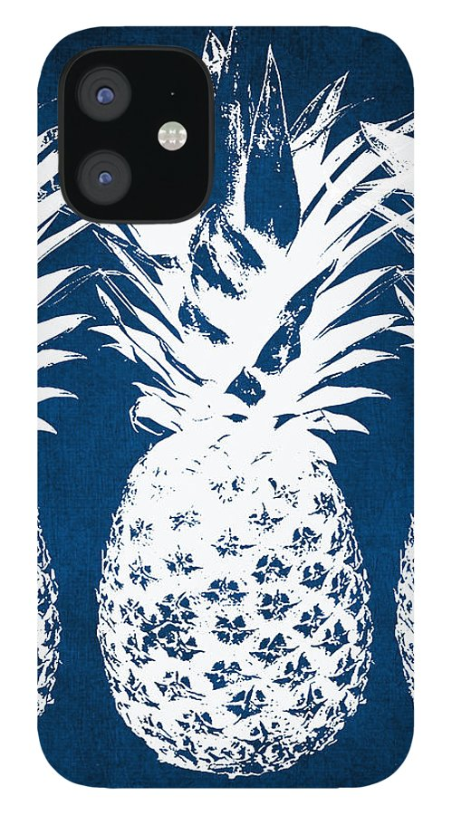 Indigo IPhone 12 Case featuring the painting Indigo and White Pineapples by Linda Woods