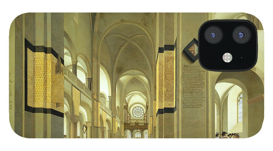 Mary's Church IPhone 12 Case featuring the photograph Interior Of The Marienkirche In Utrecht, 1638 Oil On Panel by Pieter Jansz Saenredam