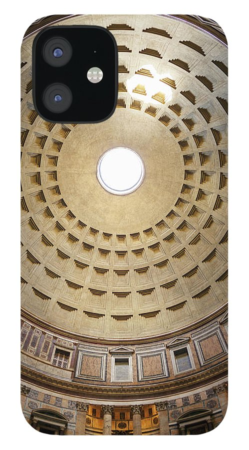 Ceiling IPhone 12 Case featuring the photograph Interior Of The Pantheon Temple In Rome by Guy Vanderelst