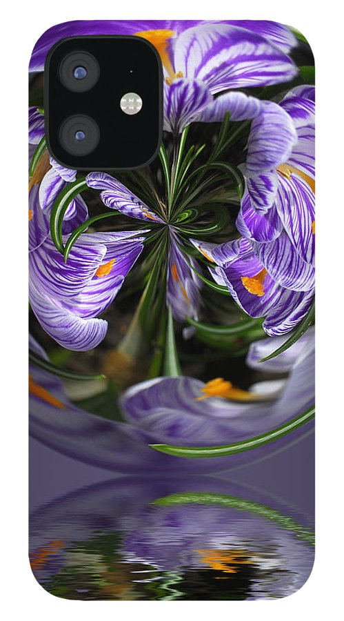 Abstract IPhone 12 Case featuring the photograph Iris in the Bubble by Keith Gondron