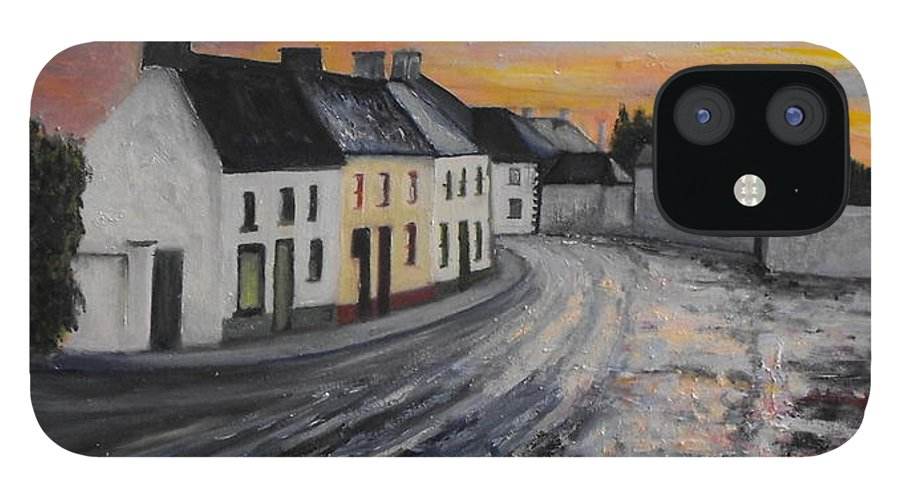 Irish Village iPhone 12 Case featuring the painting Rathvilly After The Rain by Caroline Cunningham